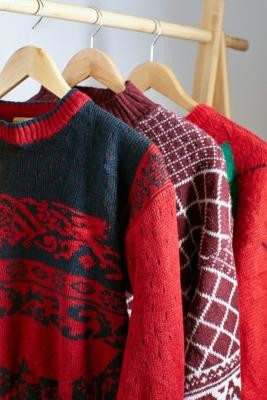 Urban Renewal Vintage Remade From Vintage Red Pattern Bubble Hem Knitted Jumper - Red M/L at Urban Outfitters