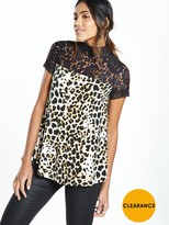 Very Lace Panel Printed Top