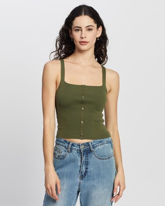 Atmos & Here Atmos&Here - Women's Green Cropped tops - Ada Knit Singlet - Size 8 at The Iconic