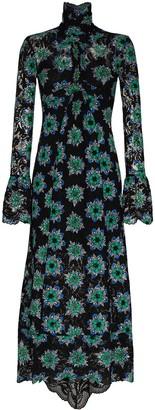 Paco Rabanne Floral-Print Long-Sleeve Maxi Dress