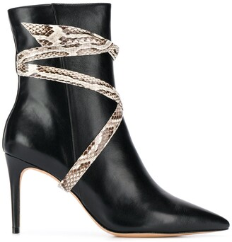 Alexandre Birman Snakeskin Effect Pointed Ankle Boots