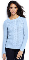 Lands' End Women's Tall Lofty Blend Cable Sweater-White Canvas