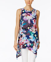 Cable & Gauge Floral-Print Asymmetrical Tunic Top