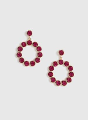 Evans Pink Rhinestone Ring Drop Hoop Earrings