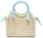 Sensi Studio - Mini Silk-trimmed Straw Basket Bag - Womens - Light Blue