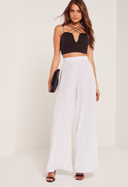 Missguided Super Wide Leg Palazzo Trouser White