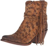 Lucchese Classics Women's Robyn-Tan Printed Sde Shorty W/Fring Ankle Bootie