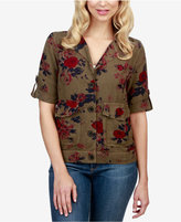 Lucky Brand Floral-Print Military Jacket