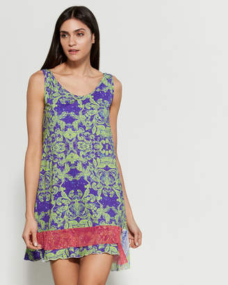 Save the Queen Printed Tiered Hem Dress Swim Cover-Up