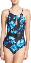 Carmen Marc Valvo Elizabeth High-Neck One-Piece Swimsuit, Blue Pattern