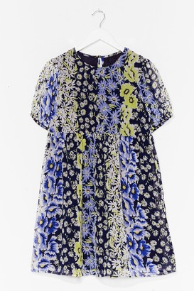 Nasty Gal Womens Not Growing to Happen Floral Mini Dress - Blue - 8, Blue