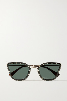 Valentino Garavani Cat-eye Crystal-embellished Acetate And Gold-tone Sunglasses - Black