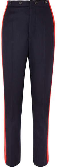 Joseph Annam Striped Wool And Cashmere-blend Felt Straight-leg Pants - Navy