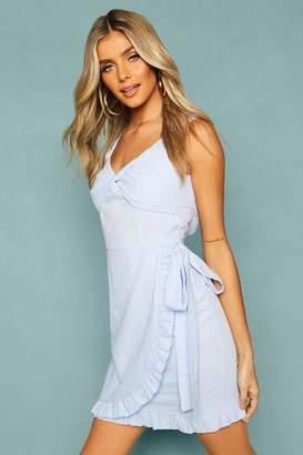 boohoo Woven Twist Front Wrap Mini Dress