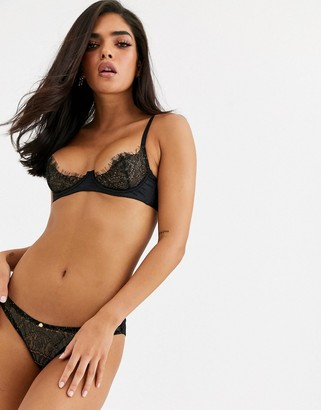 Coco de Mer X Playboy Gilded Heart lace brief in black