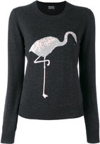 Markus Lupfer sequin flamingo sweater - women - Polyester/Merino - S