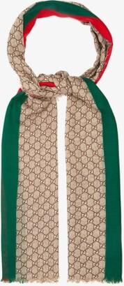 Gucci GG-print Raw-edged Wool Scarf - Beige