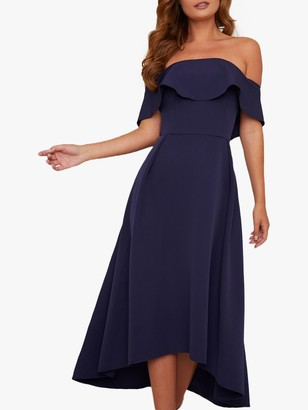 Chi Chi London Curve Yazmina Asymmetric Hem Bardot Dress, Navy