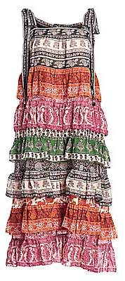 Zimmermann Women's Amari Tiered Tie-Shoulder Printed Silk-Blend Midi Dress