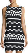 Nicole Miller Geometric-Print Sleeveless Shift Dress, Black/White