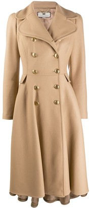 Elisabetta Franchi Double-Breasted Coat With Skirt