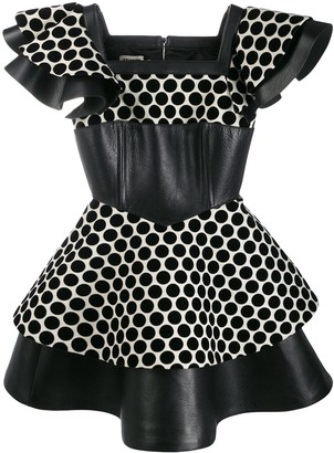 Fausto Puglisi Polka Dot Panelled Dress