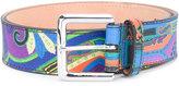 Etro multi-print embroidered belt - men - Leather - 90