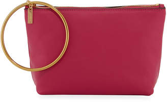 THACKER Large Leather Ring-Handle Pouch Clutch Bag - Gold Hardware