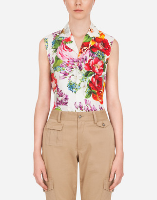 Dolce & Gabbana Sleeveless Poplin Shirt With Mixed Floral Print