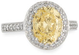 FANTASIA Oval-Cut Canary Yellow CZ Pave Ring