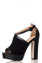 Quiz Black PU Block Heel Shoe Boots