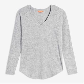 Joe Fresh Women's V-Neck Rib Sweater, White (Size XS)