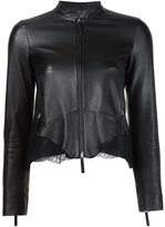 Roberto Cavalli lace insert leather jacket - women - Silk/Sheep Skin/Shearling/Polyamide/Viscose - 42