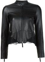 Roberto Cavalli lace insert leather jacket