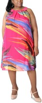 Thumbnail for your product : Robbie Bee Printed Pleated-Neck Dress