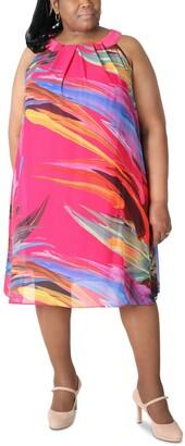 Robbie Bee Printed Pleated-Neck Dress
