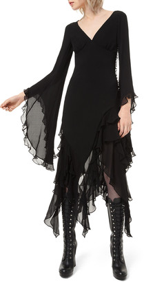 Michael Kors Ruffled Chiffon Bias Midi Dress
