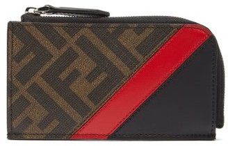 Fendi Ff-print Leather Card And Coin Purse - Mens - Brown Multi
