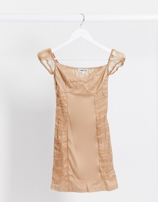 Femme Luxe organza ruched mini dress in tan