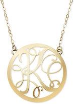 14k Gold Necklace, Letter K Scroll Pendant