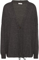 Brunello Cucinelli Bead-embellished Melange Cashmere, Silk And Hemp-blend Cardigan