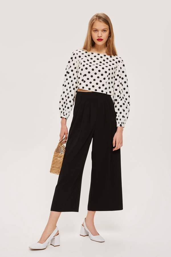 Topshop Womens Pleat Detail Culottes - Black