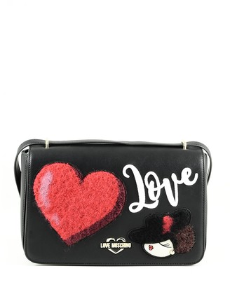 Love Moschino Black Eco-Leather Shoulder Bag w/Heart