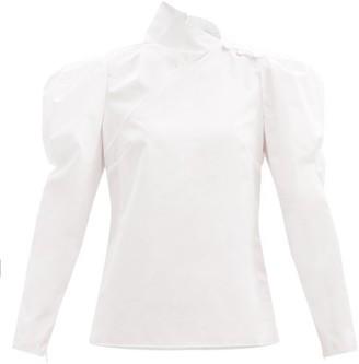 Erdem Cedric High-neck Puff-sleeve Cotton-poplin Blouse - White