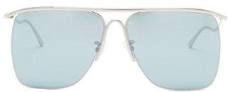 Balenciaga Curve Reflective Navigator Metal Sunglasses - Blue
