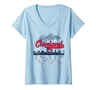 Womens Retro Cleveland Native American Tribe Feathers Gift V-Neck T-Shirt