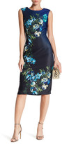 Gabby Skye Sleeveless Floral Scuba Midi Sheath Dress