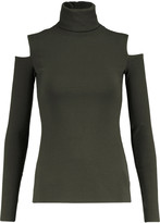 Bailey 44 Cutout ribbed stretch-knit turtleneck top
