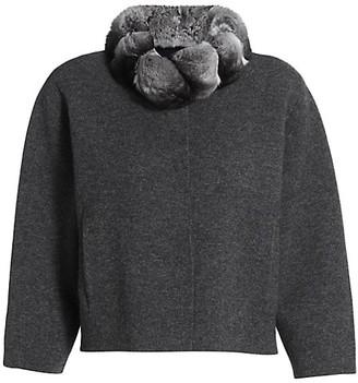 The Fur Salon Chinchilla Fur-Collar Cashmere Bolero