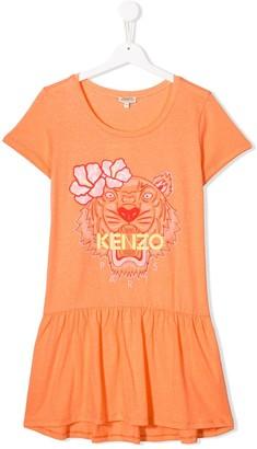 Kenzo Kids Short-Sleeve Logo Flared Dress